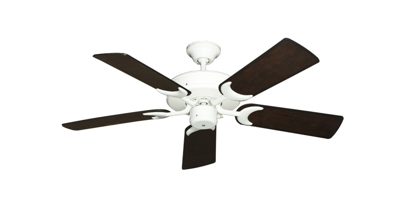 """Picture of Patio Fan Pure White with 44"""" Distressed Walnut Blades"""
