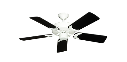 """Picture of Patio Fan Pure White with 44"""" Black Blades"""