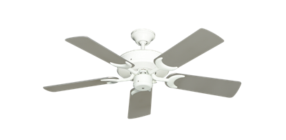 """Picture of Patio Fan Pure White with 44"""" Satin Steel (painted) Blades"""