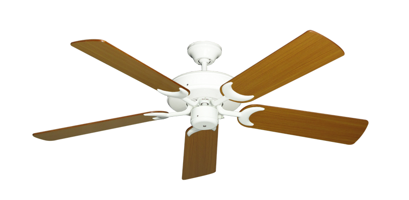 """Picture of Patio Fan Pure White with 52"""" Teak Blades"""