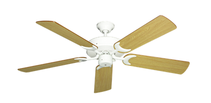 "Picture of Patio Fan Pure White with 52"" Honey Oak Blades"