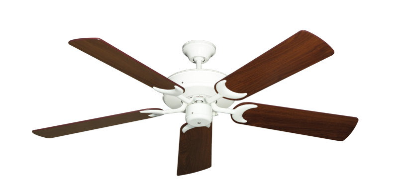 "Picture of Patio Fan Pure White with 52"" Walnut Blades"