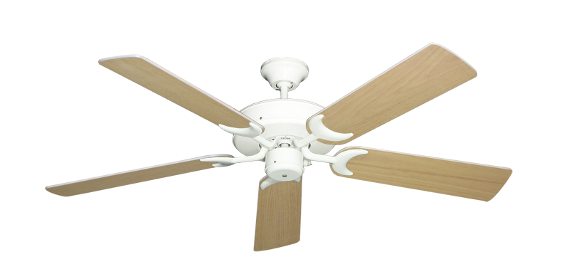 "Picture of Patio Fan Pure White with 52"" Unfinished Oak Blades"
