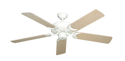 """Picture of Patio Fan Pure White with 52"""" Bleached Oak Blades"""