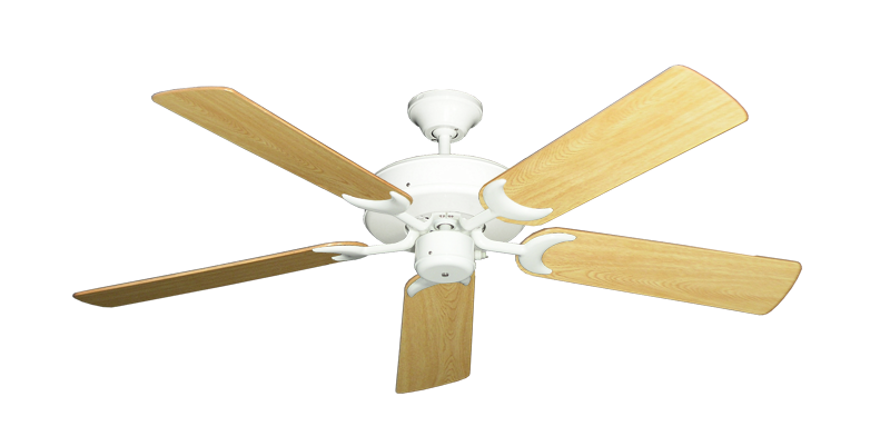 """Picture of Patio Fan Pure White with 52"""" Honey Oak Gloss Blades"""