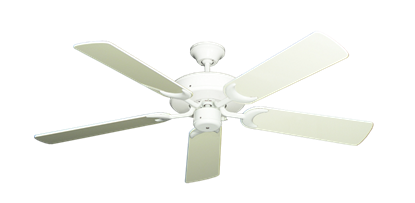 """Picture of Patio Fan Pure White with 52"""" Antique White Gloss Blades"""