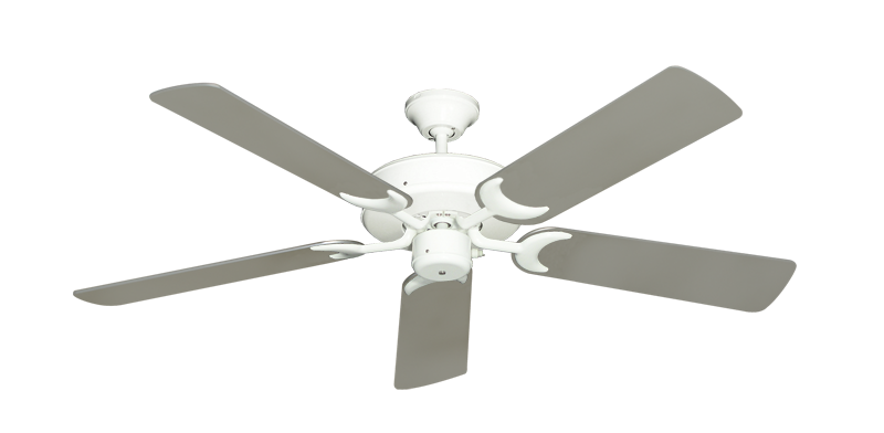 """Picture of Patio Fan Pure White with 52"""" Satin Steel (painted) Blades"""
