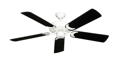 """Picture of Patio Fan Pure White with 52"""" Black Blades"""