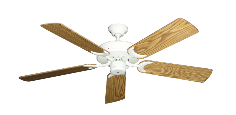 "Picture of Patio Fan Pure White with 52"" Oak Gloss Blades"
