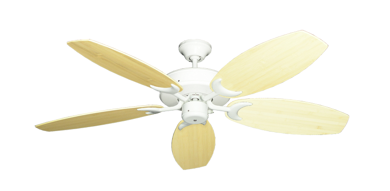 "Picture of Patio Fan Pure White with 52"" Oar Bamboo Natural Blades"