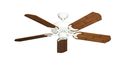 """Picture of Patio Fan Pure White with 52"""" Cherry Plank Blades"""