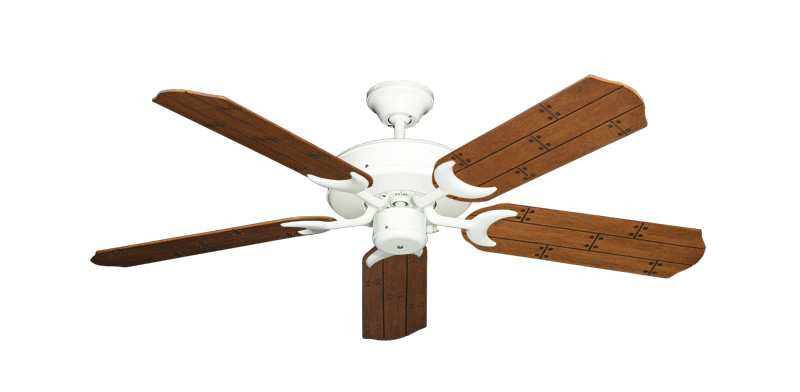 "Picture of Patio Fan Pure White with 52"" Cherry Plank Blades"
