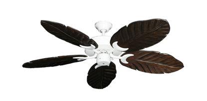 """Picture of Patio Fan Pure White with 52"""" Series 125 Arbor Dark Walnut Blades"""