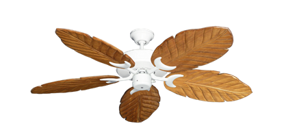 """Picture of Patio Fan Pure White with 52"""" Series 125 Arbor Oak Blades"""