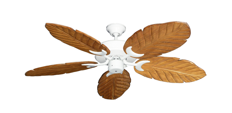 """Patio Fan Pure White with 52"""" Series 125 Arbor Oak Blades"""