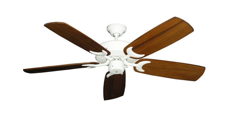 "Patio Fan Pure White with 52"" Series 425 Arbor Oak Blades"