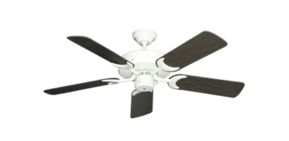 """Picture of Patio Fan Pure White with 44"""" Outdoor Oil Rubbed Bronze Blades"""