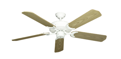 """Picture of Patio Fan Pure White with 52"""" Outdoor Bleached Oak Blades"""