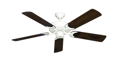 """Picture of Patio Fan Pure White with 52"""" Outdoor Oil Rubbed Bronze Blades"""