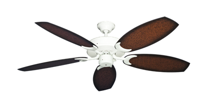 """Picture of Patio Fan Pure White with 52"""" Outdoor Oar Aged Mahogany Blades"""