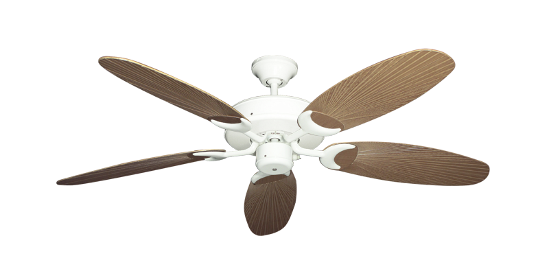"""Picture of Patio Fan Pure White with 52"""" Outdoor Leaf Tan Blades"""