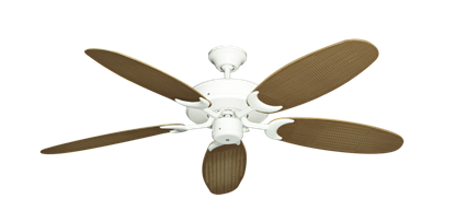 """Picture of Patio Fan Pure White with 52"""" Outdoor Wicker Tan Blades"""