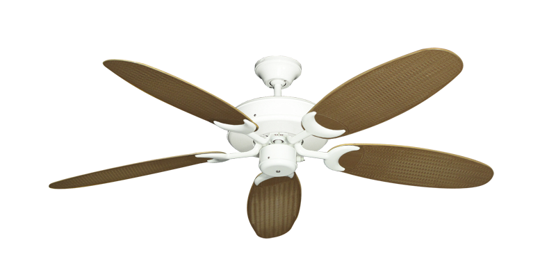 "Patio Fan Pure White with 52"" Outdoor Wicker Tan Blades"