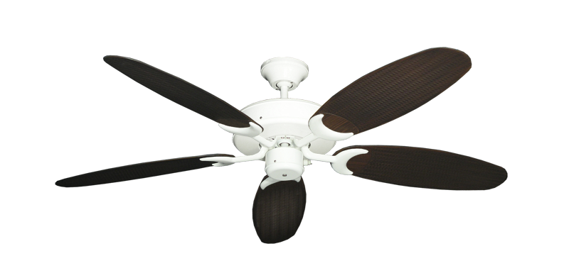 "Patio Fan Pure White with 52"" Outdoor Wicker Oil Rubbed Bronze Blades"