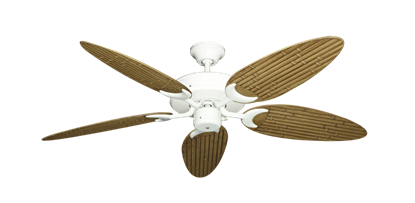 """Picture of Patio Fan Pure White with 52"""" Outdoor Bamboo Walnut Blades"""