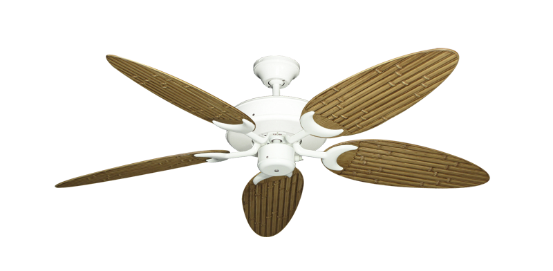"Picture of Patio Fan Pure White with 52"" Outdoor Bamboo Walnut Blades"