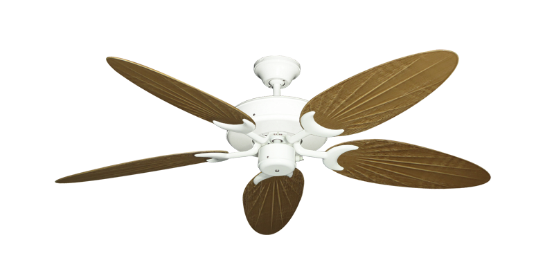 """Picture of Patio Fan Pure White with 52"""" Outdoor Palm Walnut Blades"""