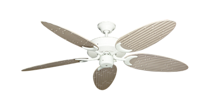 """Picture of Patio Fan Pure White with 52"""" Outdoor Bamboo Distressed White Blades"""