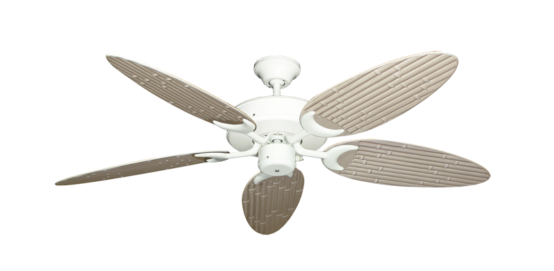 "Picture of Patio Fan Pure White with 52"" Outdoor Bamboo Distressed White Blades"