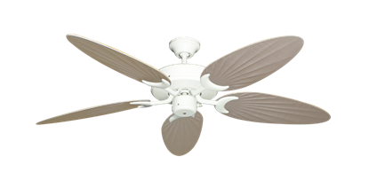 """Picture of Patio Fan Pure White with 52"""" Outdoor Palm Distressed White Blades"""