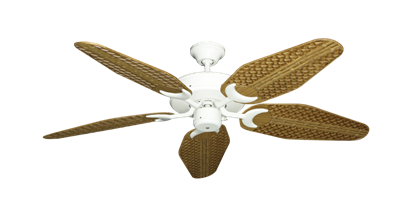 "Picture of Patio Fan Pure White with 52"" Outdoor Weave Walnut Blades"