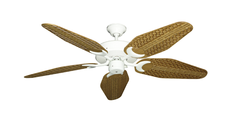 "Patio Fan Pure White with 52"" Outdoor Weave Walnut Blades"