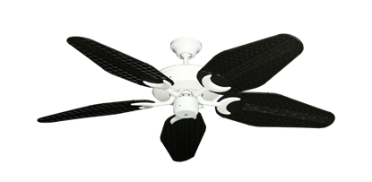 """Picture of Patio Fan Pure White with 52"""" Outdoor Weave Oil Rubbed Bronze Blades"""