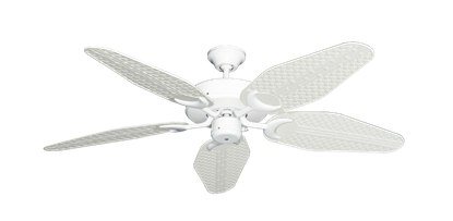 "Picture of Patio Fan Pure White with 52"" Outdoor Weave Pure White Blades"