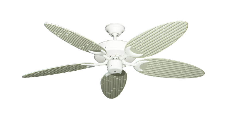 """Patio Fan Pure White with 52"""" Outdoor Bamboo Antique White Blades"""