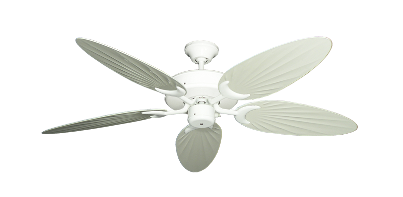 """Patio Fan Pure White with 52"""" Outdoor Palm Antique White Blades"""