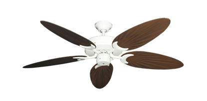 """Picture of Patio Fan Pure White with 52"""" Outdoor Palm Oil Rubbed Bronze Blades"""