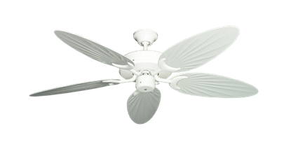 """Picture of Patio Fan Pure White with 52"""" Outdoor Palm Pure White Blades"""
