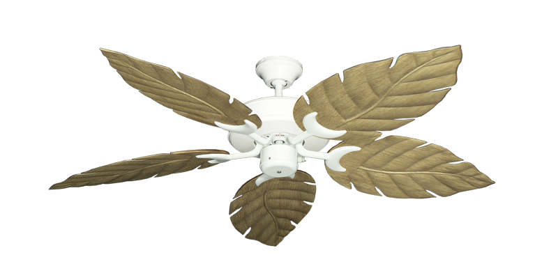 """Picture of Patio Fan Pure White with 52"""" Venetian Walnut Blades"""