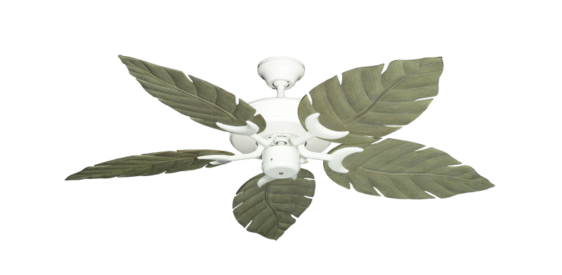 """Patio Fan Pure White with 52"""" Venetian Driftwood Blades"""