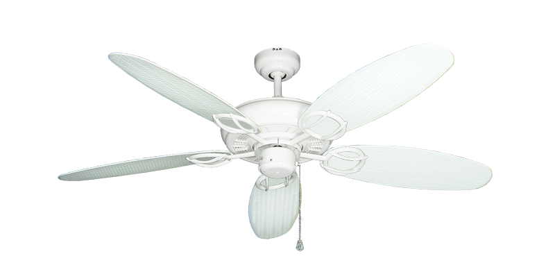 """Picture of Trinidad Pure White with 52"""" Outdoor Wicker Pure White Blades"""