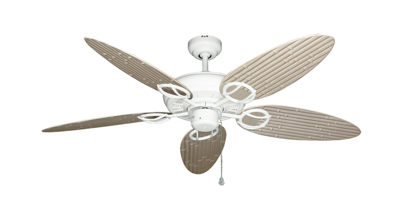 """Trinidad Pure White with 52"""" Outdoor Bamboo Distressed White Blades"""