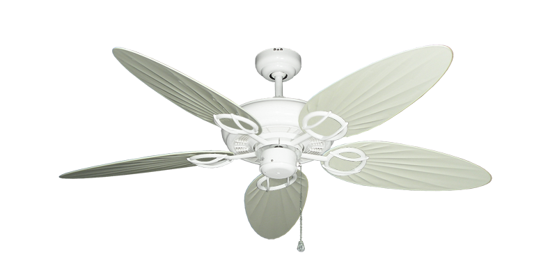 """Trinidad Pure White with 52"""" Outdoor Palm Antique White Blades"""