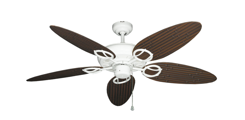 """Picture of Trinidad Pure White with 52"""" Outdoor Bamboo Oil Rubbed Bronze Blades"""