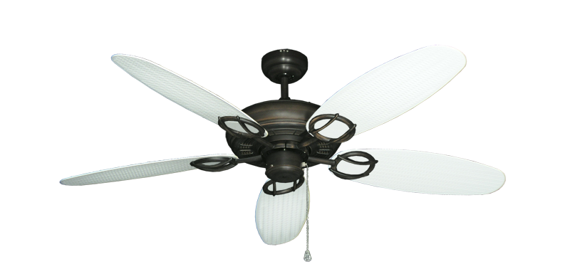 "Trinidad Oil Rubbed Bronze with 52"" Outdoor Wicker Pure White Blades"