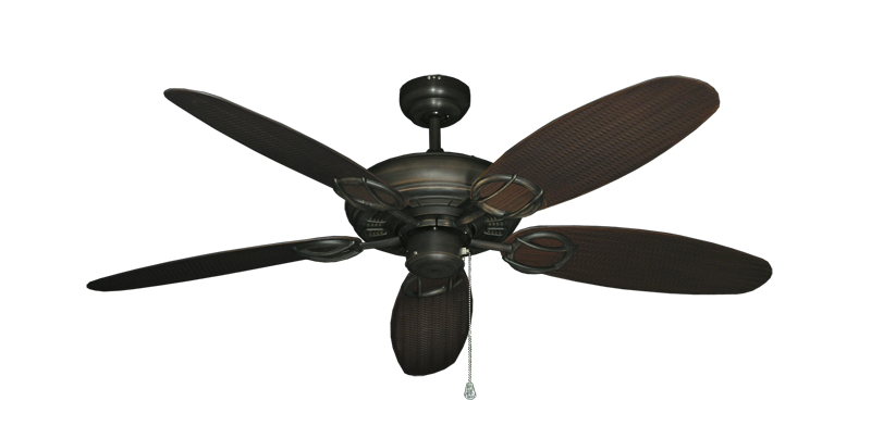 "Picture of Trinidad Oil Rubbed Bronze with 52"" Outdoor Wicker Oil Rubbed Bronze Blades"